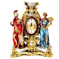 Каминные часы статуэтка воина и женщины с рогом изобилия PL0412P-31A7-10 Argenti Classic
