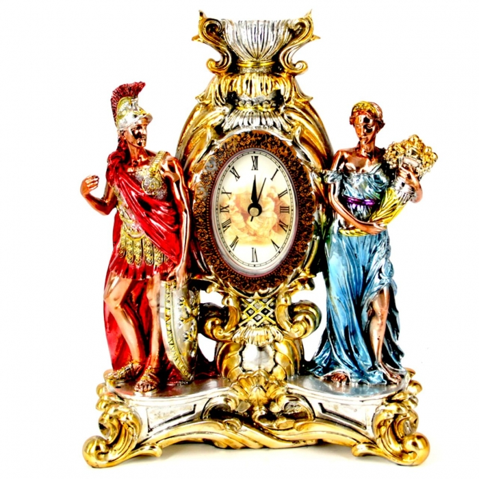 Каминные часы статуэтка воина и женщины с рогом изобилия PL0412P-31A7-10