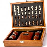 Подарунковий набір шахи з флягою і стопками TZ-14
