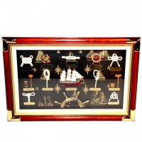 Картина панно настенная Морксие узлы и парусник G-034 Two Captains