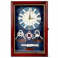 Настінна ключниця з годинником Морські вузли 3020C