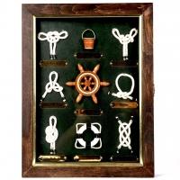 Ключниця на стіну з годинником на 6 ключів Морські вузли 3325B