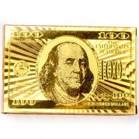 Пластиковые игральные карты золотистые Доллар A193