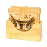 Подставка бамбуковая  для чашки набор 6шт. 2