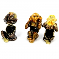 Шкатулка со стразами статуэтка три обезьяны 3035.3036.3037