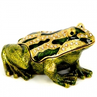 Шкатулка зі стразами статуетка жаба QF659