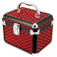 Шкатулка для прикрас велика чорно-червоний ромб 8139-3