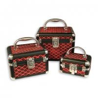 Набір скриньок для прикрас і косметики 3 шт чорно-червоний ромб 8139