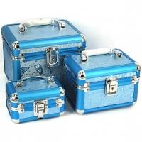 Набор шкатулок для украшений и косметики 3 шт бабочки люкс голубая 8151