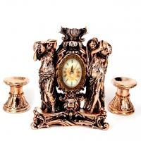 Набор каминные часы Купальщицы и 2 подсвечника для широкой свечи