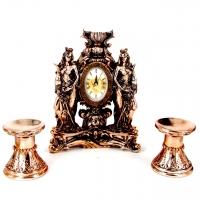 Набор каминные часы Фортуны и 2 подсвечника для широкой свечи