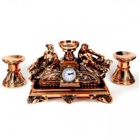 Набір камінний годинник Греція і 2 підсвічники для широкої свічки