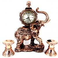 Набор каминные часы Слон и 2 подсвечника для широкой свечи