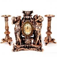 Набор каминные часы Купальщицы и 2 высоких подсвечника