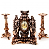 Набор каминные часы Фортуны и 2 высоких подсвечника