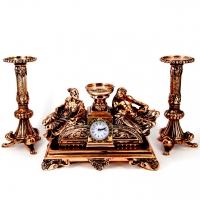 Набор каминные часы Греция и 2 высоких подсвечника