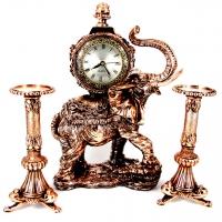 Набор каминные часы Слон и 2 высоких подсвечника