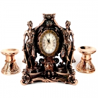 Набор каминные часы Фемида и 2 подсвечника для широкой свечи