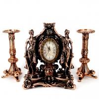 Набор каминные часы Фемида и 2 высоких подсвечника