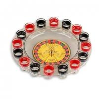 Алкогольная игра пьяная рулетка со стопками на 16 рюмок прозрачная S16RT