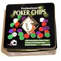 Набор для игры в покер на 100 фишек в жестяной коробке TC04100N