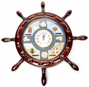 Годинник-штурвал настінний подарунковий - фото darunok.ua
