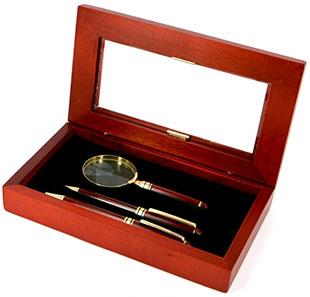 Подарунковий набір з ручкою, лупою і олівцем - фото darunok.ua
