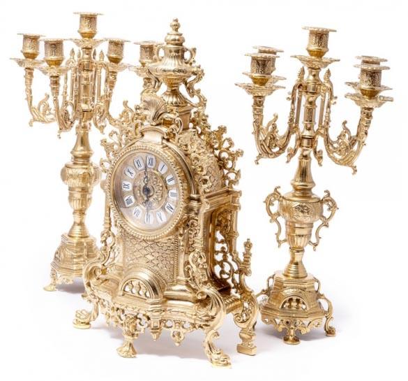 Набор каминные часы и два канделябра-невероятный сувенир  - фото интернет-магазина darunok.ua