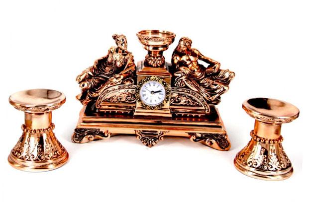 Набор каминные часы Греция и 2 подсвечника для широкой свечи - солидный сувенир для архитектора - фото интернет-магазина darunok.ua