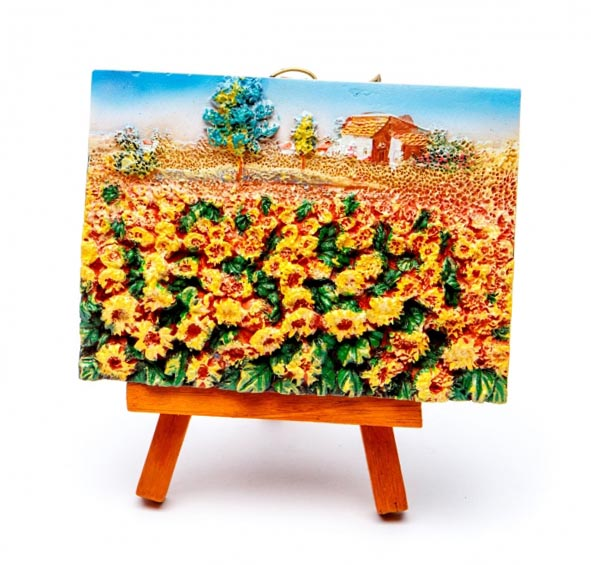 Картина пейзаж соняшники об'ємна - прекрасний сувенір вчителю малювання - фото інтернет-магазину darunok.ua