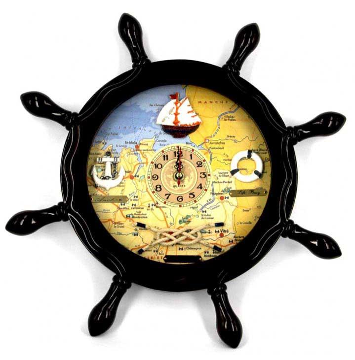 Настенные часы штурвал в морском стиле - креативный сувенир  для шкипера - фото Дарунок