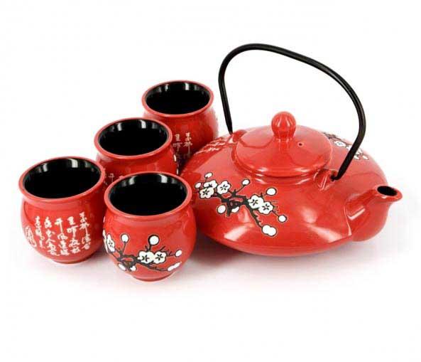 Подарунковий чайний набір квітуча гілка сакури - відмінний подарунок на День Народження - фото дарунок