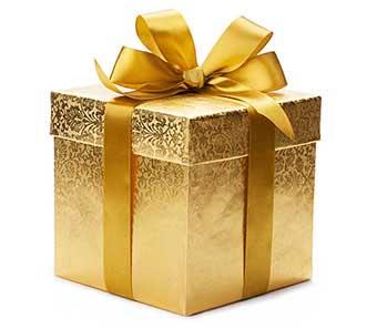 Золотая упаковка к юбилею свадьбы - фото Дарунок