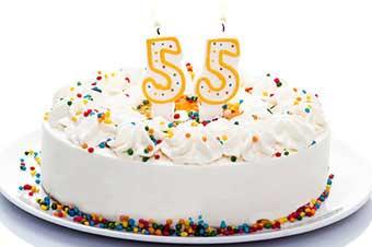 Праздничный торт на юбилей 55 лет - фото darunok.ua