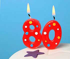 Святкові свічки на ювілей 80 років - фото darunok.ua